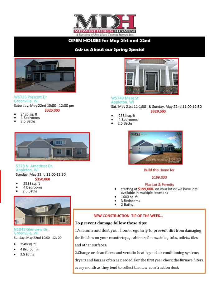 Open House May 21 and 22